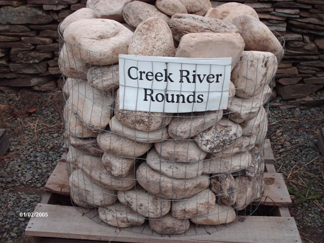 We deliver pallets of these creek rounded stones.